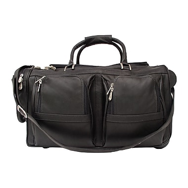Piel Traveler 20'' Leather Travel Duffel with Pockets on Wheels; Black