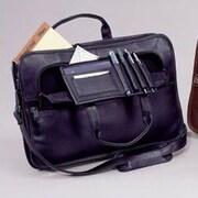 Winn International Cowhide Slim Leather Briefcase; Black