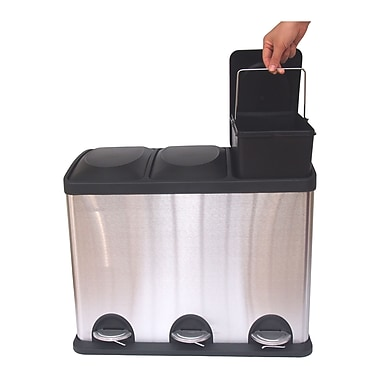 HQV 45L 3-Compartment Wastebasket / Recycling Bin