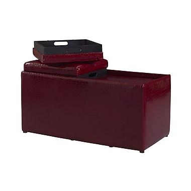 Linon Croco Bogo PVC Ottoman, Red