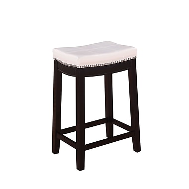 Linon Claridge Patches Vinyl Counter Stool, White