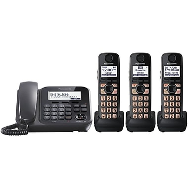 Panasonic® KX-TG4773B 1 Line Digital Cordless Answering System W/1 Corded/3 Handset, 50 Name/Number