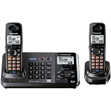 Panasonic® KX-TG9382T 2 Line Digital Cordless Answering System W/2 Handset, 100 Name/Number