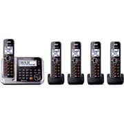 Panasonic KX-TG7875S Single Line Link-2-Cell Bluetooth Convergence Phone with 5 Handsets, Cordless, Black
