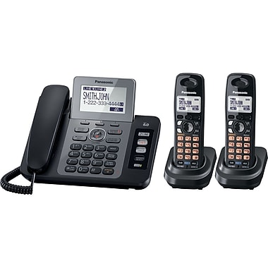 Panasonic® KX-TG9472B Answering System W/Contact Sync/1 Corded/2 Cordless Handset, 100 Name/Number