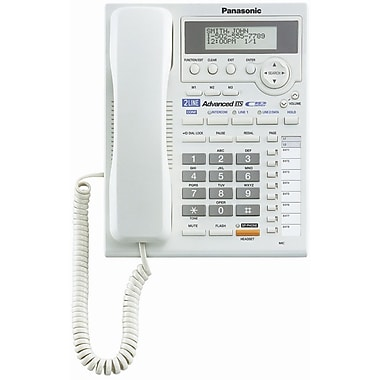 Panasonic® KX-TS3282 2 Line Corded Integrated Telephone System W/Intercom, 50 Name/Number, White