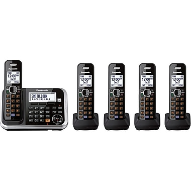 Panasonic® KX-TG6845B Expandable Digital Cordless Answering System W/5 Handset, 100 Name/Number