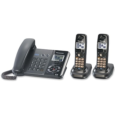 Panasonic® KX-TG9392T 2 Line Digital Corded/Cordless Answering System W/2 Handset, 100 Name/Number