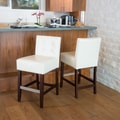 Home Loft Concept Brinkley KD Tufted Bar Stool with Cushion (Set of 2); Ivory