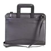 Scully Soft Plonge Leather Zip Binder With Drop Handles; Black