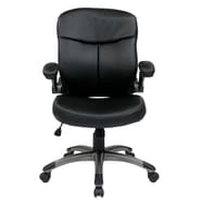 Office Star Mid Back Eco Leather Executive Chair with Adjustable Padded Flip Arms