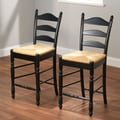 TMS 24'' Ladder Bar Stool (Set of 2); Black
