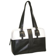 Buxton Santorini Comp Tote Bag; Black and White