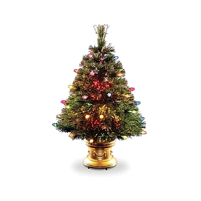 National Tree Co. Fiber Optic Ice 3' Green Artificial Christmas Tree w/ Multi-Colored Lights w/ Base WYF078276141040