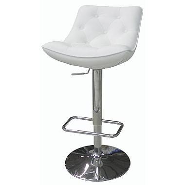 Whiteline Imports Cindy Adjustable Bar Stool with Cushion; White