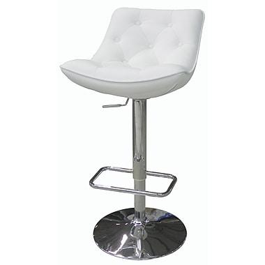 Whiteline Imports Cindy Adjustable Height Bar Stool with Cushion; White