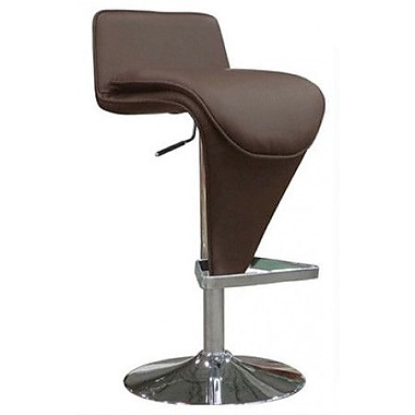 Whiteline Imports Hudson Adjustable Height Bar Stool with Cushion; Chocolate