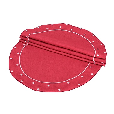 Xia Home Fashions Polka Dot Embroidered Easy Care Placemat (Set of 4); Red