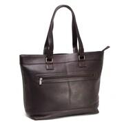 Le Donne Leather Laptop Zipper Leather Briefcase Tote Bag; Caf
