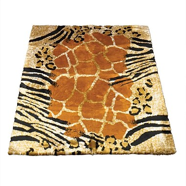 Walk On Me Animal Black/Brown Safari Print Area Rug; 3'3'' x 4'7''