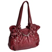 Parinda Cosmos Snakeskin Embossed Faux Leather Large Tote Bag; Red