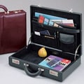 Winn International Top Grain Leather Attache Case; Black