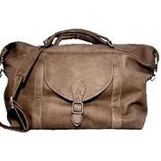 David King 25'' Leather Top Zip Travel Duffel Bag; Caf  / Dark Brown