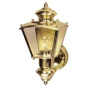 Heath-Zenith Charleston Coach 1 Light Outdoor Wall Lighting; Polished Brass