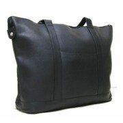 Le Donne Leather Double Strap Medium Pocket Tote Bag; Black
