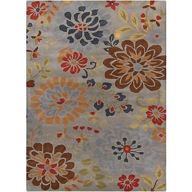 Chandra Bajrang Grey Floral Area Rug; 7' x 10'