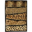 DonnieAnn Company Skinz 71 Mixed Brown Animal Skin Prints Horizontal Patchwork Area Rug; 7' x 5'