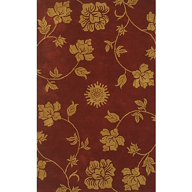Noble House Floral Burgundy & Gold Area Rug; 5' x 8'
