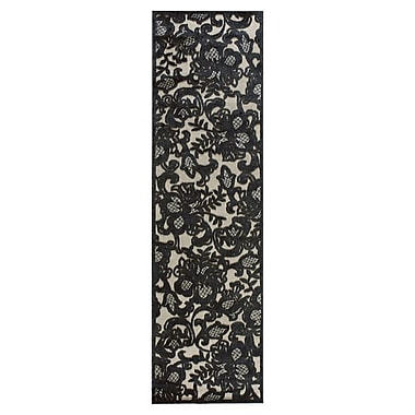 Nourison Graphic Illusions Pewter Floral Area Rug; Runner 2'3'' x 8'