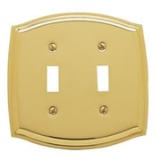 Baldwin Colonial Design Double Toggle Switch Plate; Polished Brass