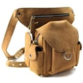 Vagabond Traveler 10'' Cowhide Leather Fashion Waist Fanny Pack; Nature Brown
