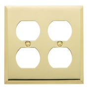 Baldwin Classic Square Bevel Design Double Duplex Switch Plate in Polished Brass