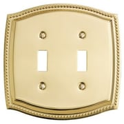 Baldwin Rope Design Double Toggle Switch Plate; Satin Nickel