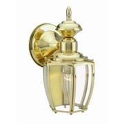 Design House Jackson 1-Light Outdoor Wall Lantern; Solid Polished Brass