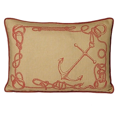 Kevin O'Brien Studio Nauticals Knots Lumbar Pillow; Coral Sand
