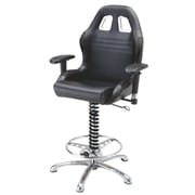 Pit Stop Furniture Racing Style Adjustable Height Swivel Bar Stool; Black