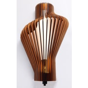 Woodbridge Canopy Escher Single Light Wood Shade Wall Sconce; Cherry