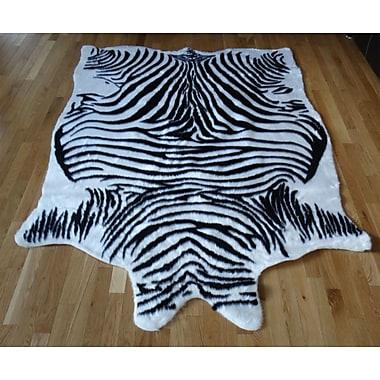 Acura Rugs Animal Hide Black/White Zebra Fur Area Rug; 5' x 7'