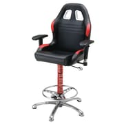 Pit Stop Furniture Racing Style Adjustable Height Bar Stool with Cushion; Red