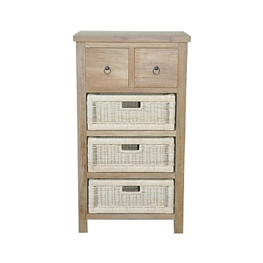 Anderson Teak Safari Accent Chest w/ Drawer and Rattan Basket