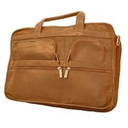 David King Leather Laptop Organizer Briefcase; Tan
