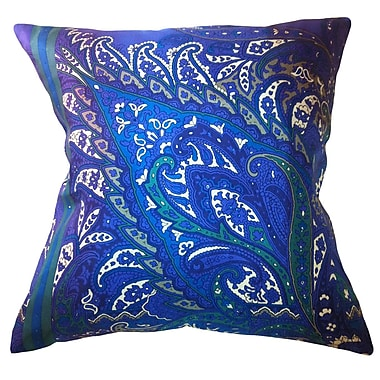 Filos Design Fiore Vintage Prints Exploded Paisley Silk Throw Pillow; Piquant