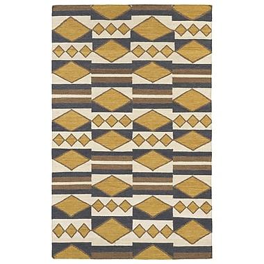 Kaleen Nomad Gold Geometric Area Rug; 5' x 8'