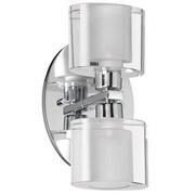 Dainolite Oval Glass 2 Light Bath Vanity Light; Polished Chrome