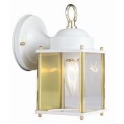 Design House Coach 1 Light Outdoor Wall Lantern; White and Polished Brass