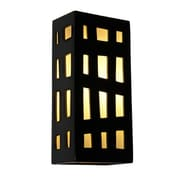 A19 ReFusion Grid Wall 1 Light Sconce; Black Gloss and White Frost